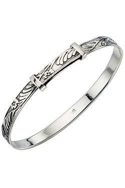 Sterling Silver Patterned Baby Bangle
