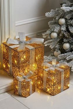 3 Rose Gold LED Gift Boxes
