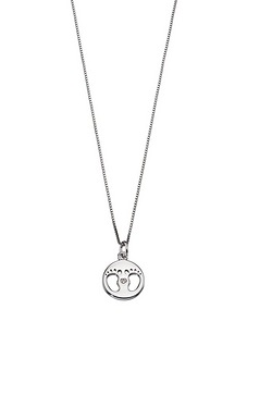 D For Diamond Footprint Medal Pendant