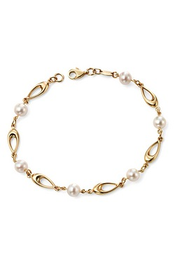 Elements Gold 9Ct Yellow Gold Link Bracelet With White Freshwater Pearls