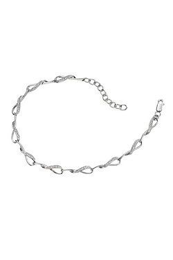 Elements Gold 9Ct White Gold Interlocking Loop Bracelet With Pave Set Diamonds
