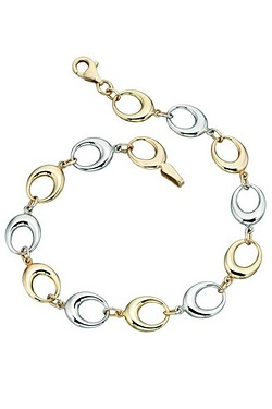 Elements Gold Cut Out Oval Link Bracelet