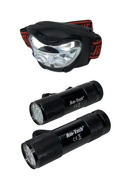 Am-Tech 2 Piece Mini Torch and Headlight Set