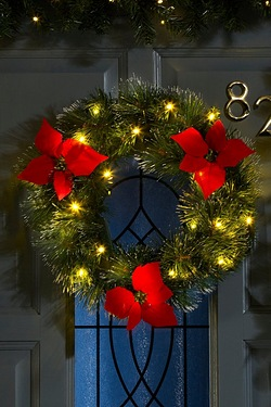 LED Poinsettia Outdoor Wreath