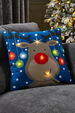 LED Reindeer Cushion