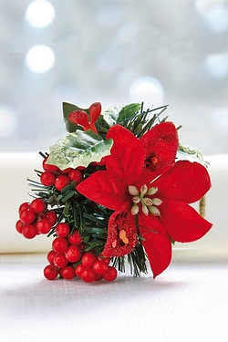 6 Poinsettia Napkin Rings