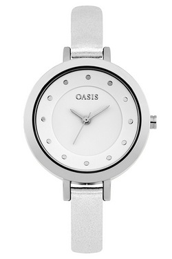 Oasis Ladies White Metallic Watch