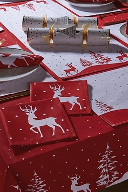Red Reindeer Tablecloth