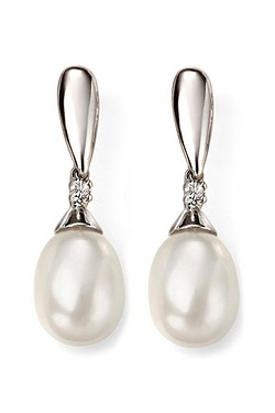9ct White Gold Pearl + Diamond Earr...