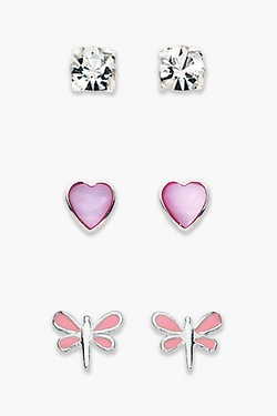 Silver Heart + Dragonfly Stud Multipack