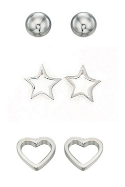 Silver CZ Heart And Star Multipack