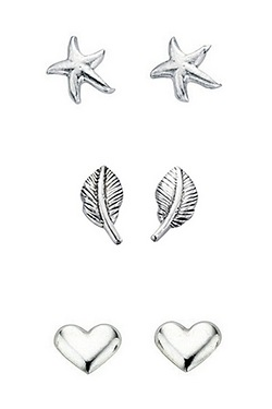 Silver Starfish Leaf And Heart Stud Multipack