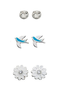 Silver Flower And Bird Stud Multipack