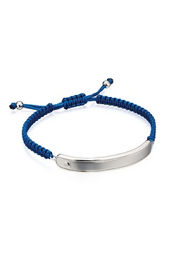 D For Diamond Blue Macrame ID Bracelet