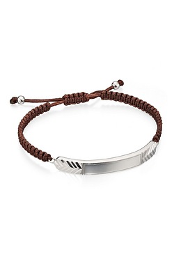 D For Diamond Brown Macrame ID Brac...