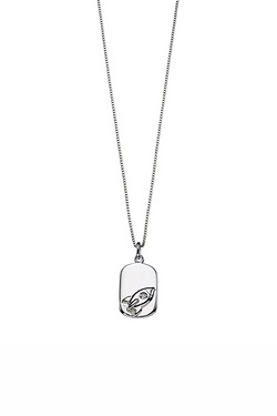 D For Diamond Rocket Tag Pendant
