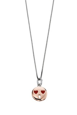 D For Diamond Heart Eyes Emoji Pendant
