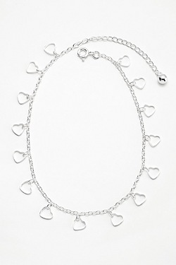 Sterling Silver Anklet With Heart D...