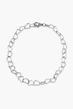 Sterling Silver Linked Heart Anklet