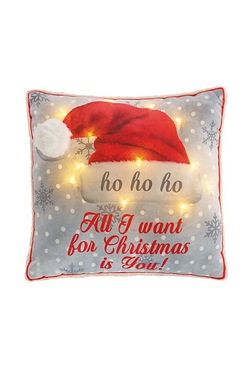 Mr and Mrs Santa Light Up Cushion
