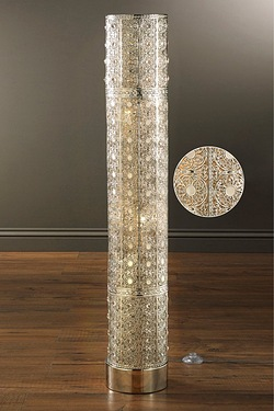 Metallic Floor Lamp with Crystal Beads