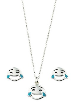 Sterling Silver Emoji Pendant and E...