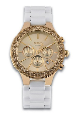 DKNY White and Gold Watch