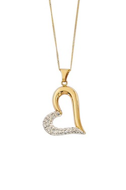 Sparkle With Love - 9ct Gold Crystal Open Heart Pendant