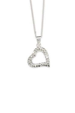Sparkle With Love - Silver Crystal Open Heart Pendant