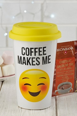 Emoji Travel Mug and Hot Chocolate