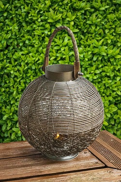 Rope Handle Sphere Wire Mesh Lantern