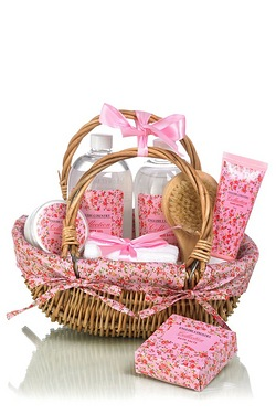 Vintage Basket Of Bath Treats