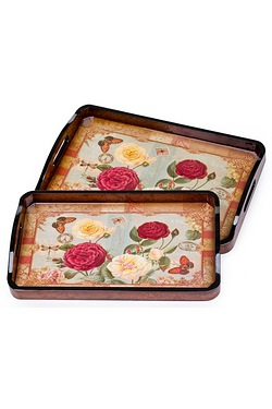 2 Piece Red Rose Wooden Trays