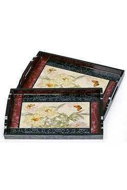 2 Piece White Carnation Wooden Trays