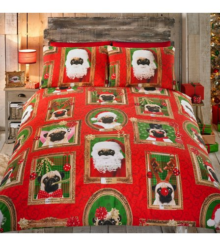 Image for Christmas Pug Portrait Duvet Set from ace
