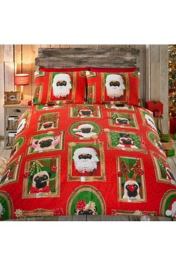 Christmas Pug Portrait Duvet Set