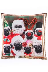 Christmas Pug Portrait Cushion Cover