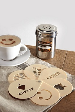 Cool Coffee Stencils and Shaker