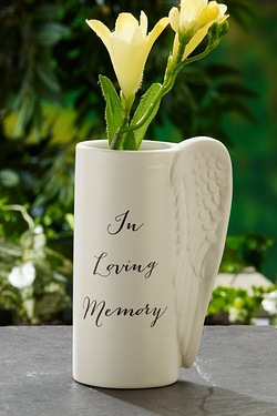 Angel Wing Vase - Loving Memory