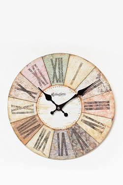 Multi-Coloured Wooden Wall Clock
