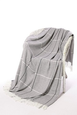 Textured Check Fringed Throw