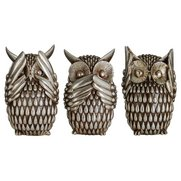 Set of 3 Silver Owls