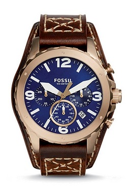 Gents Brown Strap Blue Dial Fossil ...