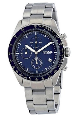 Gents Fossil Bracelet Watch Blue Dial