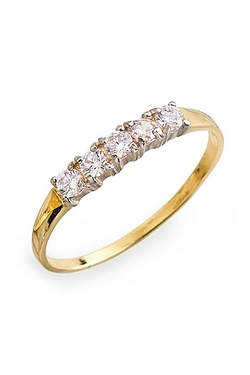 9ct Yellow Gold CZ Five Stone Half ...