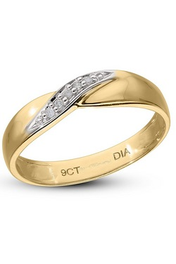 9ct Yellow Gold Diamond Set Twist Ring