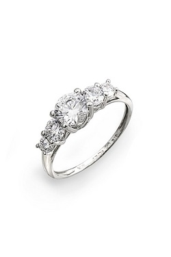 9ct White Gold 5CZ Ring