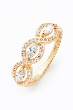 9ct Yellow Gold 3 CZ Elliptic Ring