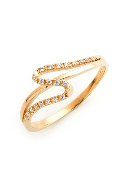9ct Yellow Gold CZ Squiggle Ring
