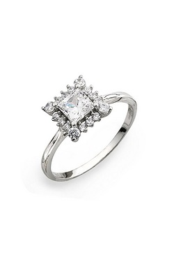 9CT White Gold CZ Square Ring